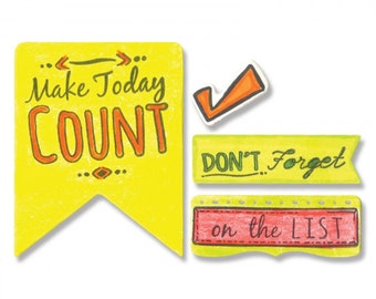 New! Sizzix Framelits Die Set 10PK w/Stamps - Make Today Count by Katelyn Lizardi
