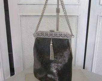 1960s Dark Brown Vinyl Handbag with Silver Chain Handle