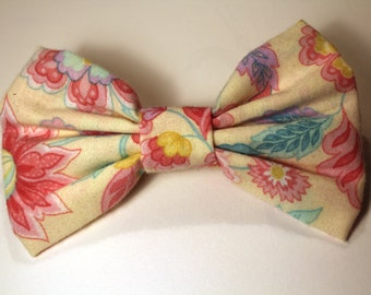 """5"""" Cream and Pastel Colored Floral Hair Bow"""