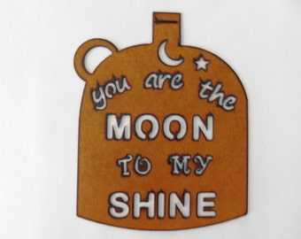Moonshine rusted metal sign rustic vintage inspired