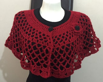 Crochet Capelet Blood Red