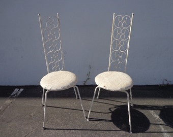 Arthur Umanoff Grenada Chairs Pair Mid Century Modern Patio Chair Furniture Hollywood Regency Outdoor Seating Brass Metal  Vintage Furniture