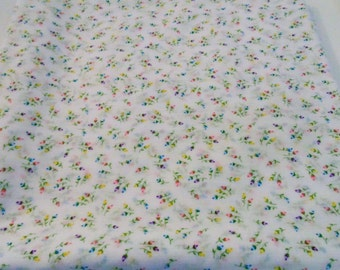 Vintage Fabric White With Tiny Flowers 2.5 Yards