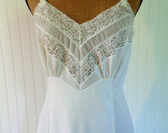 Vintage White Lace Slip By Adonna Size 36 Vintage Lingerie