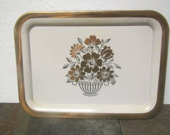 vintage Metal Lap Tray with Flower Design white and gold TV tray, serving tray ** mid century