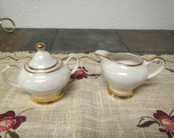 vintage PEARL CREAMER & SUGAR Bowl Set* Hand Decorated * 22 kt gold trimed Petite Tea Set