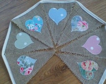 Handmade Shabby Chic Hessian Bunting with Heart Appliques in Blues Pinks and Greens