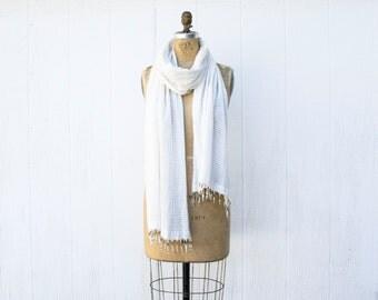 VINTAGE 1970s White Cotton Gauze Scarf | Beaded Fringe Scarf | Indian Cotton Scarf | Lightweight Cotton Shawl | Boho Hippie Head Scarf