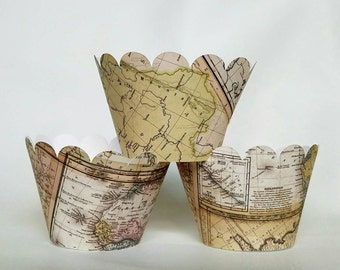 12 map atlas scallop cupcake wrappers cupcake wrapper travel decorations mission vacation theme travel the world