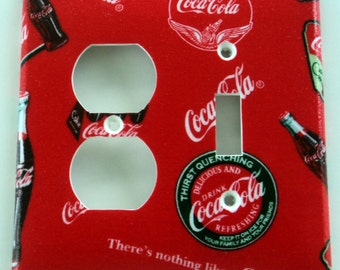 Coke Coca Cola Outlet Single Toggle Light Switch Combo Plate Cover