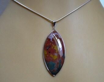Multicolored jasper/jasper/ pendent / silver/ chain
