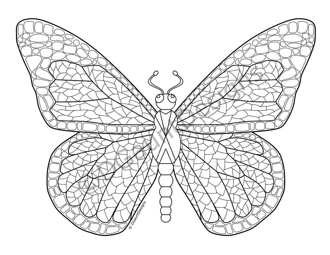 butterfly coloring pages pdf - mosaic butterfly digital adult coloring page