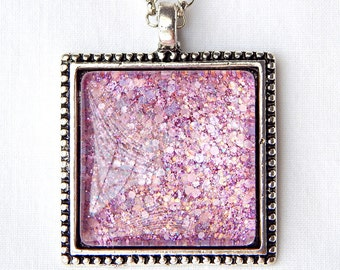 Square Glass Pendant Necklace; Handmade Glitter Nail Polish Jewelry; Lilac Necklace; Beaded Pendant; Pink Glass Necklace; Pastel Jewelry