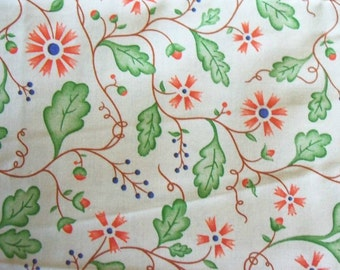 Floral Quilt Fabric ~ Orange Green Brown ~ Seasonings by Piece O'Cake Designs ~ P & B Textiles 100% Cotton ~ By the Yard