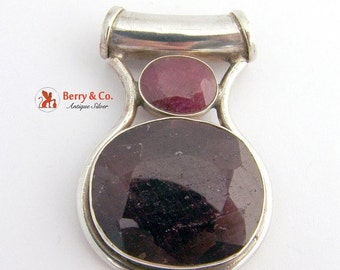SaLe! sALe! Large Oval Pendant Natural Ruby Sterling Silver