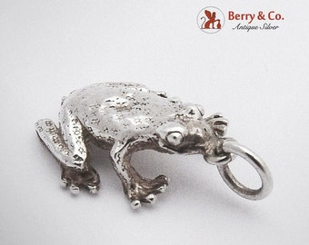 SaLe! sALe! Figural Frog Pendant Or Charm Sterling Silver