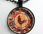 CHINESE YEAR of the ROOSTER Necklace -- Chinese Zodiac for him and her, Chinese New Year, Astrological birthday present, Zodiac art