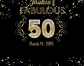 50 birthday backdrop, Glam Gold backdrop, Dessert Table backdrop, Faux Gold letter, Backdrop for boy and girl, Golden jubilee Birthday