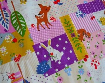 Japanese Bambi Bunny faux patchwork oxford cotton fabric