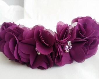Eggplant Flower Crown Headband/Flower Crown Headband/Flower Headband Wedding/Baby Girl Headband/Girl Headband Baby/Toddler Headband/Headband