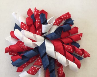 """Red, White, and Blue Patriotic Korker Hair Clip 4"""""""