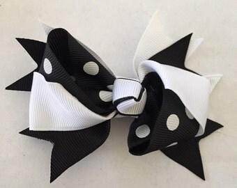 "Black and White Polka Dot Hair Bow on Hair Clip 3 1/2"""