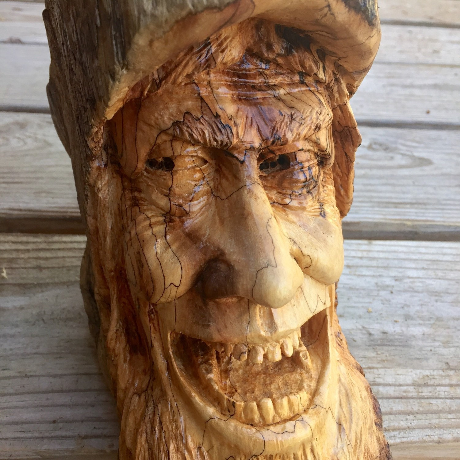 Wood spirit carving hand carved sculpture by josh