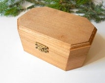 Wooden brown box- medium large six side box- unfinished wooden box with bronze colored hinges- bamboo wood box- wooden supplies- craft box