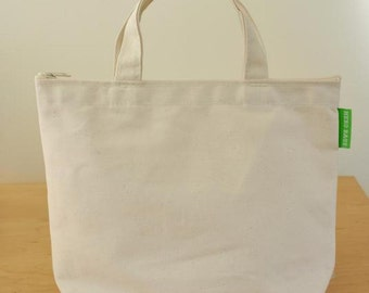 Organic Cotton Lunch Tote - Zipper Top, Handles