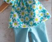 10 inch 2pc Aqua Daisy Outfit