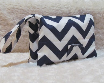 SALE!!!Navy and White Chevron Diaper and Baby Wipe Clutch for Huggies, Pampers Wipes