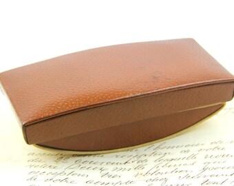 Vintage Desk Ink Blotter, rocking French brown leather ink blotter