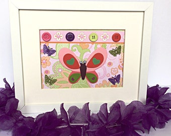 Purple Butterfly Room Girl Decor, Colorful Purple Butterfly, Butterfly Purple Framed,