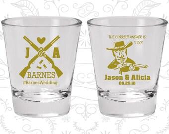 Shotgun Wedding Shot Glasses, Customized Shot Glass, Country Wedding Shot Glasses, Redneck Wedding Shot Glasses, Wedding Shot Glasses (563)