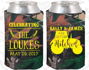 Gettin Hitched, Personalized Wedding Favors, Farm Wedding Favors, Tractor, Destination Wedding Favors, Personalized Can Coolers (381)