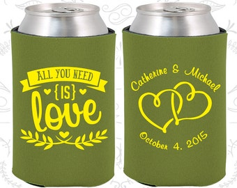 All you Need is Love, Wedding Decor, Love Wedding, Romantic Wedding, Romantic Favors, Hearts, Personalized Can Coolers (409)