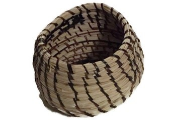Woven Wicker Basket- Embera-Wounaan Indian Wicker Baskets- Dark Brown- Panama Wicker Basket