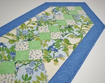 "Spring Quilted Table Runner, Quilted Table Runner, Floral Patchwork Table Mat, Blue Green Yellow, 15""x40"", Quiltsy Handmade"