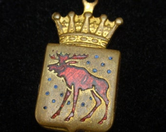 Moose Charm Brass and Enamel Shield with Crown