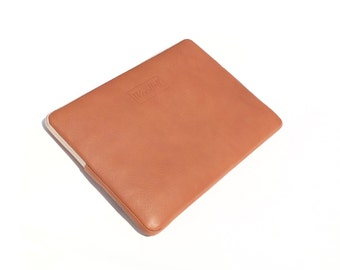 Sand leather laptop case