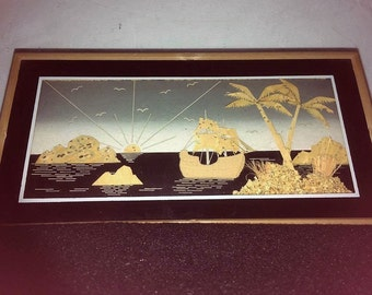 chinese diorama cork carved sailing boat picture