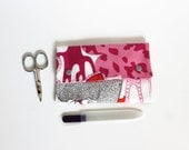All in one - Bag pink and grey: manicure kit, tissue pouch, usb stick holder, lipstick bag, travel case, colorful multifunctional bag