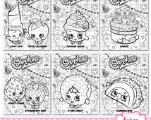 YOU PRINT 6 Shopkins DIGITAL coloring sheets - Instant download pdf - Birthday, party coloring activity sheets, pages, game, favor