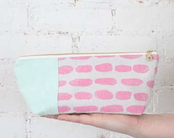 small zip pouch pink mint stroke on gray block print eco friendly