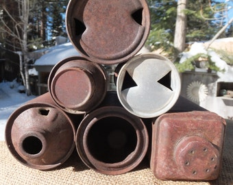 Six (6)Rusty Cans/Desert Art/Can Opener Marks, Bullet Holes, Cone Can, Shasta - yard art or home decor