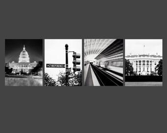 Set of 4 ~ Washington DC, Art, Black and White Photography, Architectural Print, Capitol Building, White House, Metro, Independence Ave