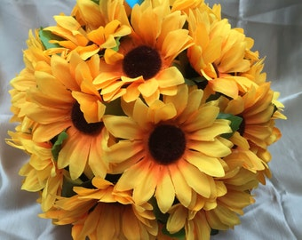 Sunflower Pomander Kissing Ball Bride Pomander Decoration Butterflies Flower Girls - Large