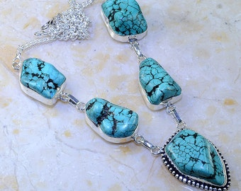 Turquoise Necklace: Genuine Gemstone Necklace, Turquoise and Silver, Boho Chic, One of a Kind Fab and Unique