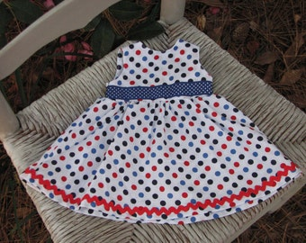 Patriotic Dot Print Summer Dress for 18 inch doll with navy and red trim