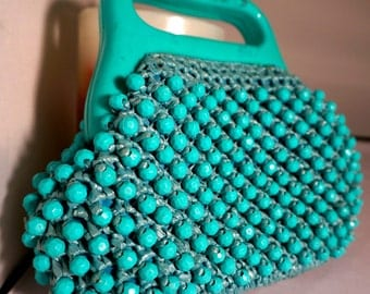 Vintage BEADED BAG   Aqua raffia knotted or knitted small bag  1960s